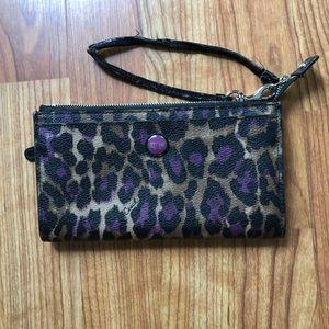 Cheetah Leather Coach wristlet